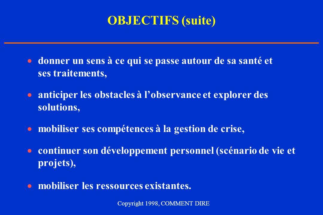OBJECTIFS (suite) donner un sens à ce qui se passe autour de sa santé et ses traitements, anticiper les obstacles à lobservance et explorer des soluti