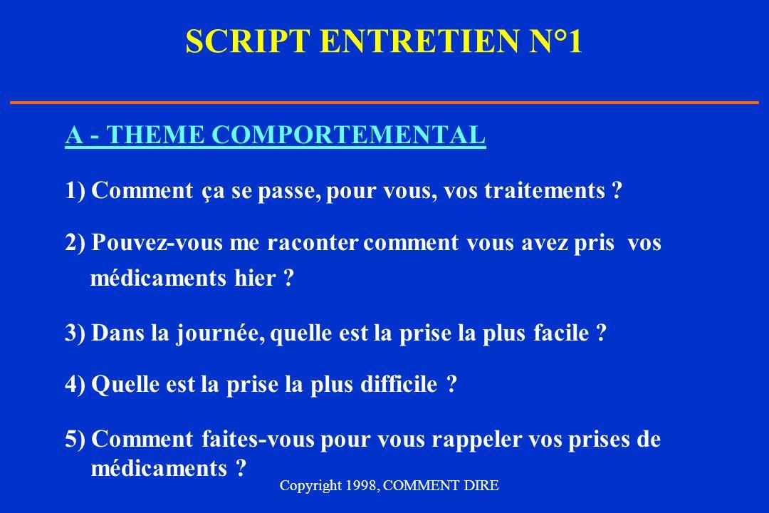 SCRIPT ENTRETIEN N°1 A - THEME COMPORTEMENTAL 1) Comment ça se passe, pour vous, vos traitements .