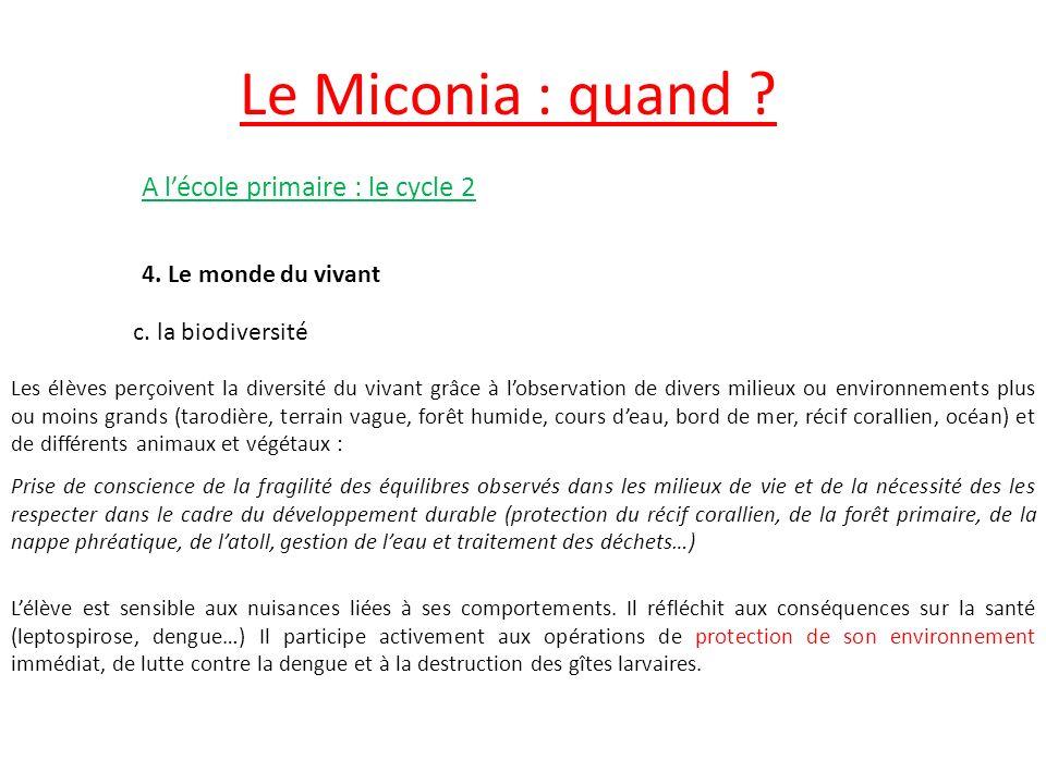 Le Miconia : quand .A lécole primaire : le cycle 2 4.