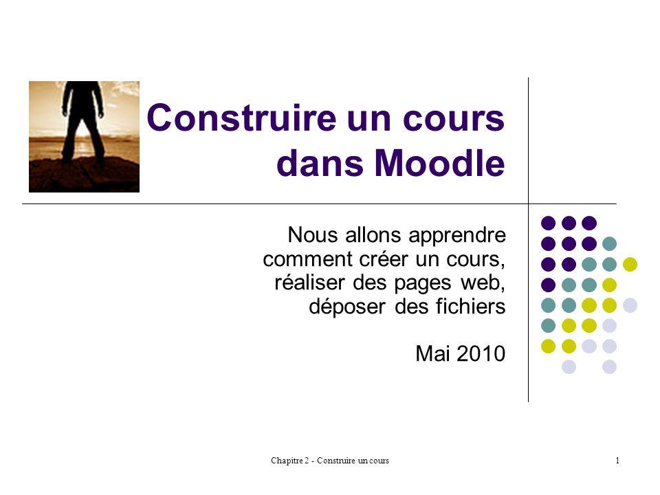 Chapitre 2 - Construire un cours1 Construire un cours dans Moodle Nous allons apprendre comment créer un cours, réaliser des pages web, déposer des fichiers Mai 2010
