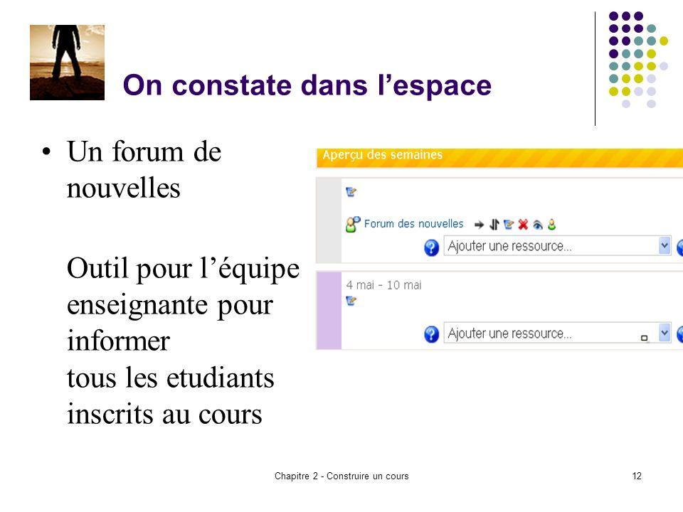 Chapitre 2 - Construire un cours12 On constate dans lespace Un forum de nouvelles Outil pour léquipe enseignante pour informer tous les etudiants inscrits au cours