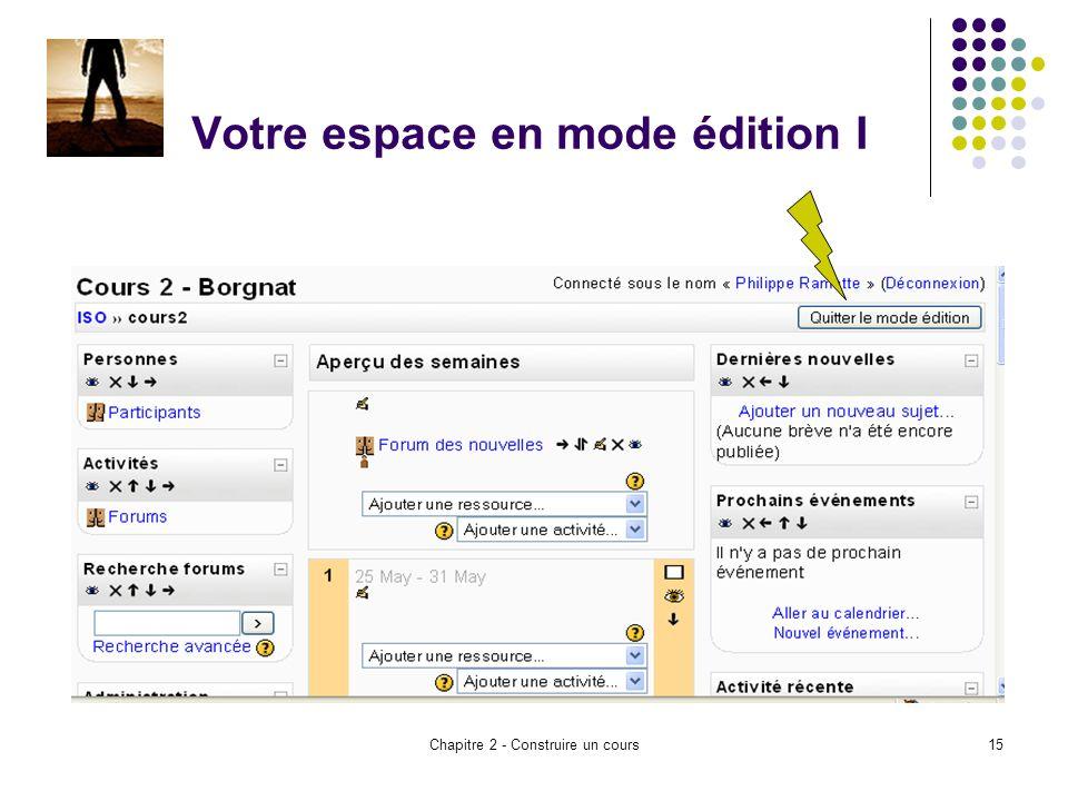 Chapitre 2 - Construire un cours15 Votre espace en mode édition I