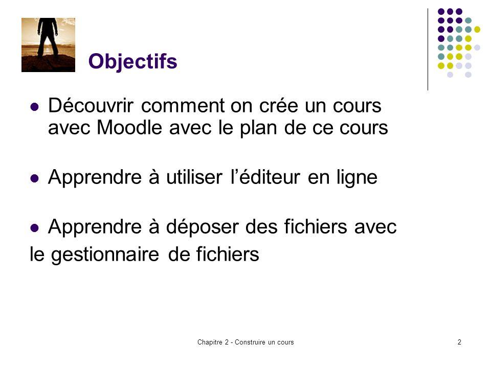 Chapitre 2 - Construire un cours2 Objectifs Découvrir comment on crée un cours avec Moodle avec le plan de ce cours Apprendre à utiliser léditeur en ligne Apprendre à déposer des fichiers avec le gestionnaire de fichiers