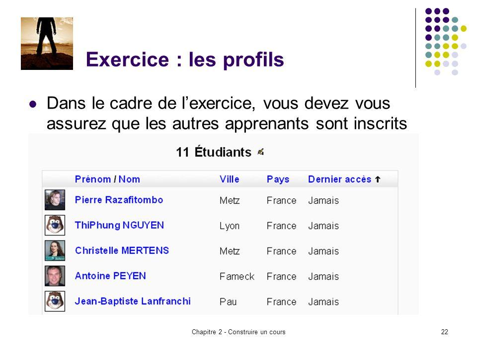 Chapitre 2 - Construire un cours22 Exercice : les profils Dans le cadre de lexercice, vous devez vous assurez que les autres apprenants sont inscrits dans votre cours – voir bloc participants