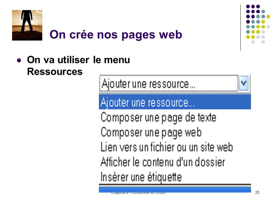 Chapitre 2 - Construire un cours25 On crée nos pages web On va utiliser le menu Ressources