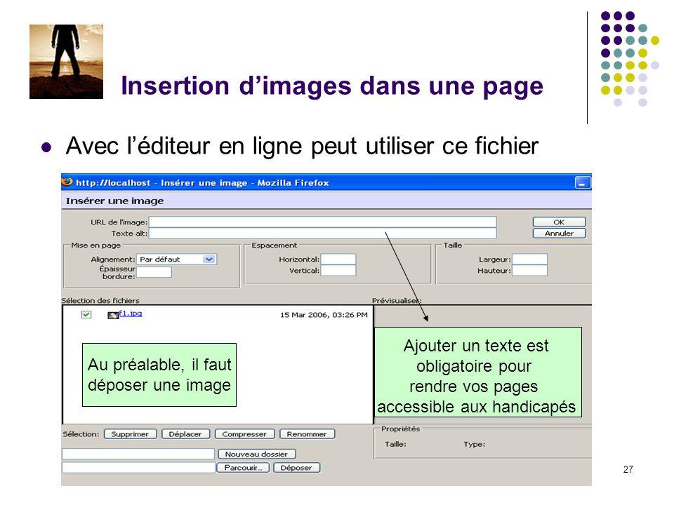 Chapitre 2 - Construire un cours27 Insertion dimages dans une page Avec léditeur en ligne peut utiliser ce fichier Ajouter un texte est obligatoire pour rendre vos pages accessible aux handicapés Au préalable, il faut déposer une image
