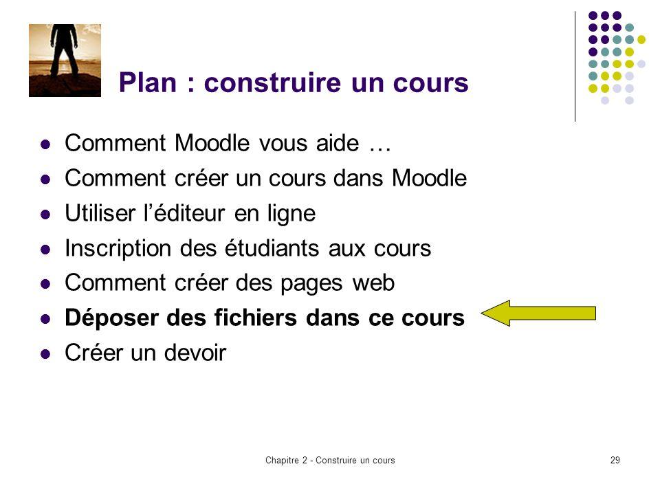 Chapitre 2 - Construire un cours29 Plan : construire un cours Comment Moodle vous aide … Comment créer un cours dans Moodle Utiliser léditeur en ligne Inscription des étudiants aux cours Comment créer des pages web Déposer des fichiers dans ce cours Créer un devoir