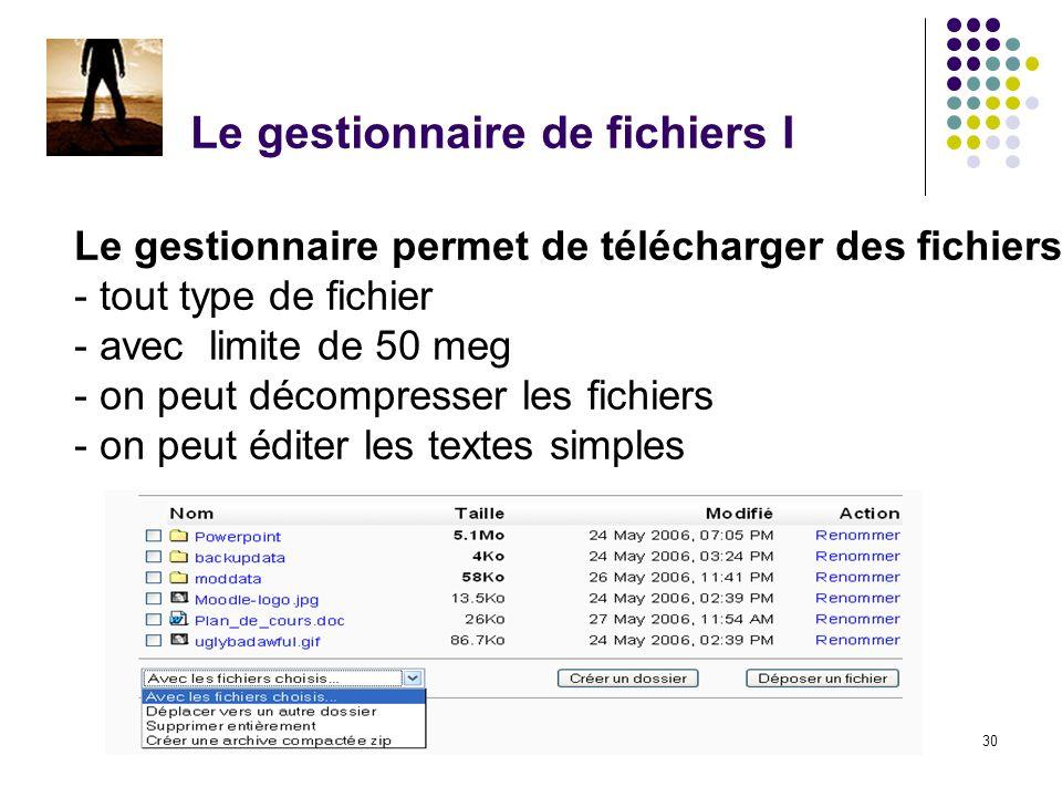 Chapitre 2 - Construire un cours30 Le gestionnaire de fichiers I Le gestionnaire permet de télécharger des fichiers - tout type de fichier - avec limite de 50 meg - on peut décompresser les fichiers - on peut éditer les textes simples