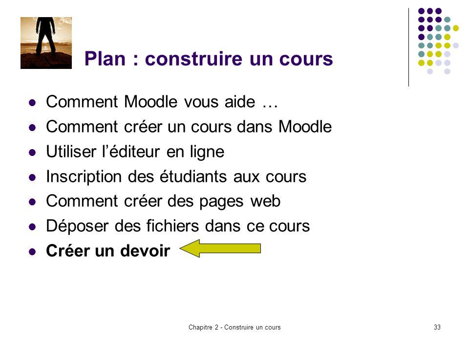 Chapitre 2 - Construire un cours33 Plan : construire un cours Comment Moodle vous aide … Comment créer un cours dans Moodle Utiliser léditeur en ligne Inscription des étudiants aux cours Comment créer des pages web Déposer des fichiers dans ce cours Créer un devoir
