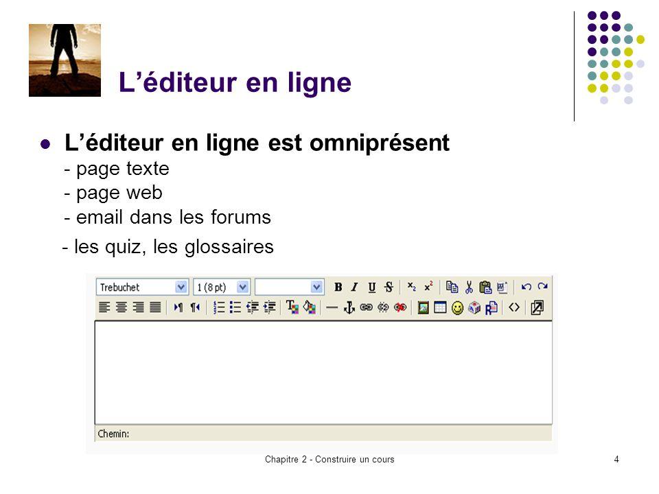 Chapitre 2 - Construire un cours4 Léditeur en ligne Léditeur en ligne est omniprésent - page texte - page web - email dans les forums - les quiz, les glossaires