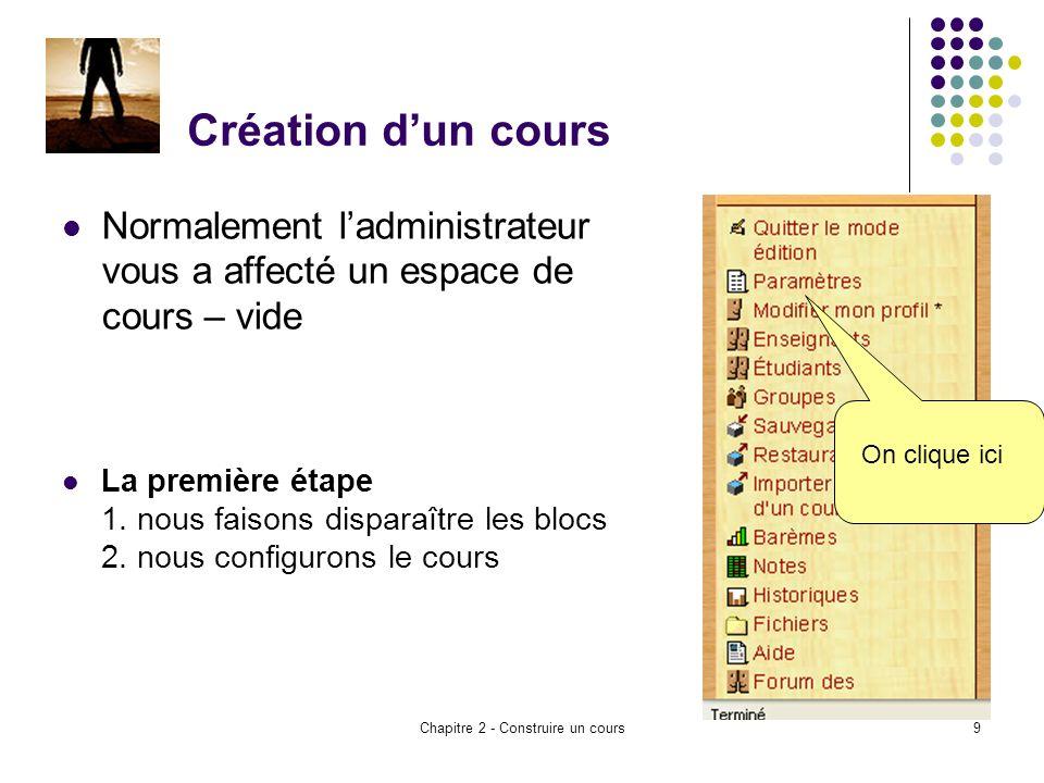 Chapitre 2 - Construire un cours9 Création dun cours Normalement ladministrateur vous a affecté un espace de cours – vide La première étape 1.