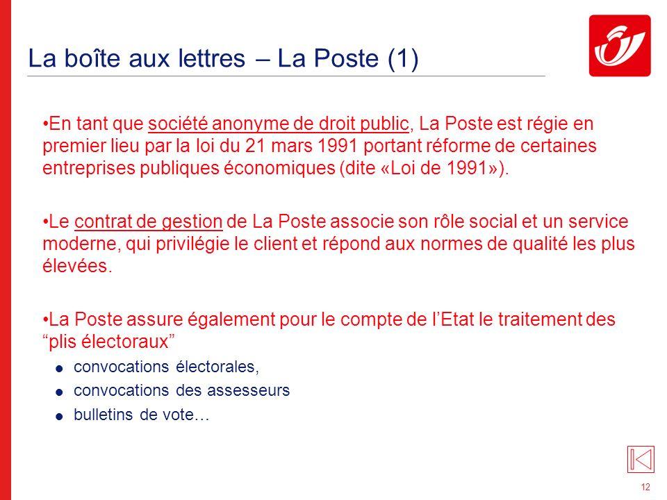 12 La boîte aux lettres – La Poste (1) En tant que société anonyme de droit public, La Poste est régie en premier lieu par la loi du 21 mars 1991 portant réforme de certaines entreprises publiques économiques (dite «Loi de 1991»).