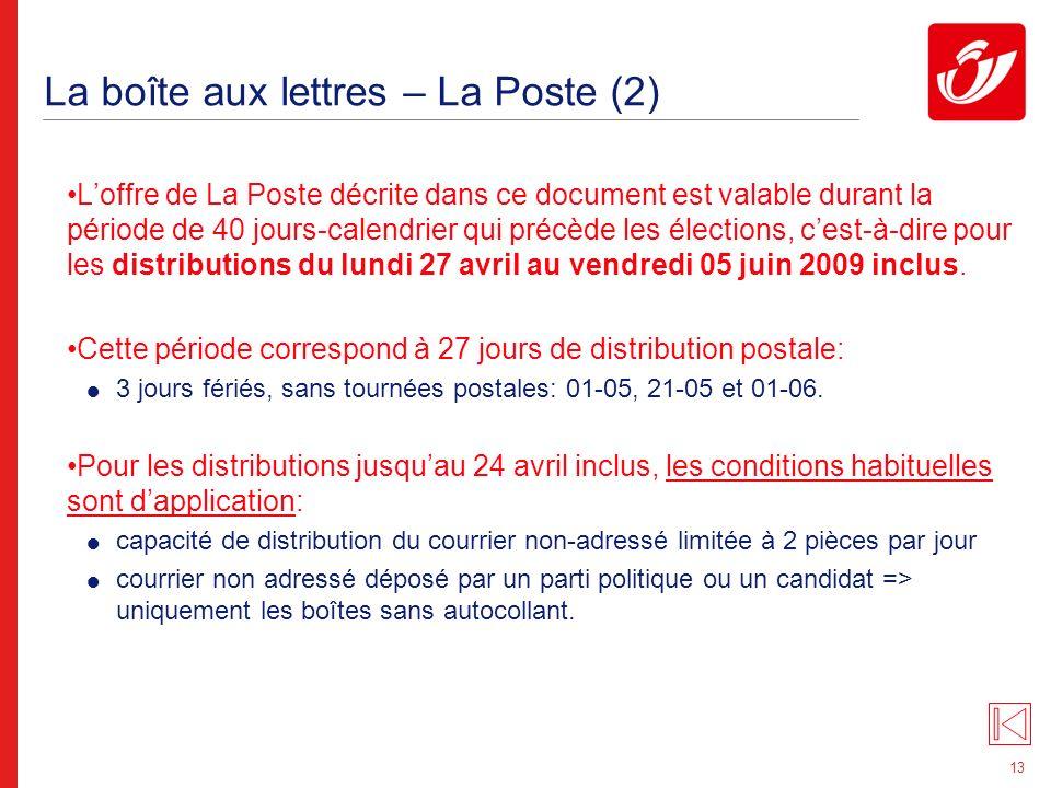 13 La boîte aux lettres – La Poste (2) Loffre de La Poste décrite dans ce document est valable durant la période de 40 jours-calendrier qui précède les élections, cest-à-dire pour les distributions du lundi 27 avril au vendredi 05 juin 2009 inclus.