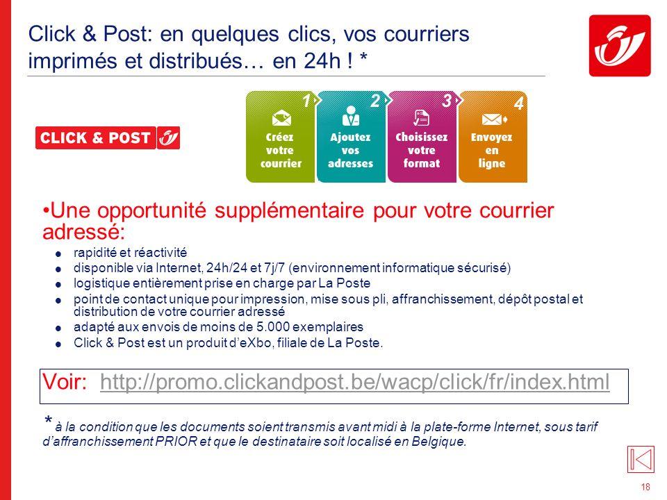 18 Click & Post: en quelques clics, vos courriers imprimés et distribués… en 24h .