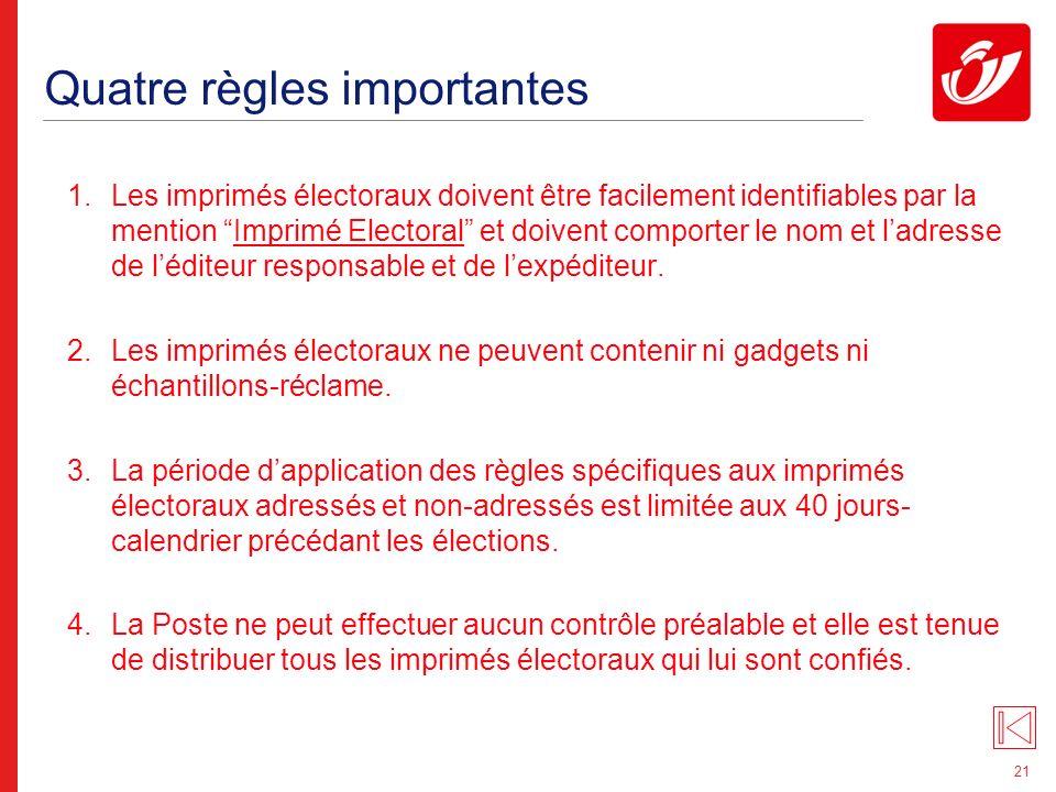 21 Quatre règles importantes 1.Les imprimés électoraux doivent être facilement identifiables par la mention Imprimé Electoral et doivent comporter le nom et ladresse de léditeur responsable et de lexpéditeur.