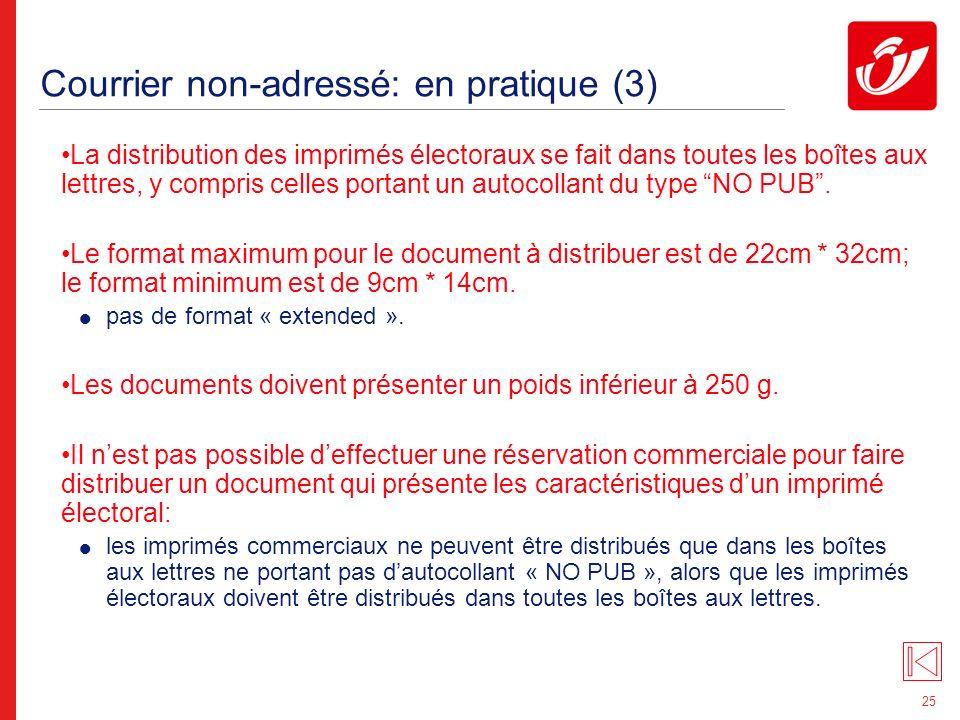 25 Courrier non-adressé: en pratique (3) La distribution des imprimés électoraux se fait dans toutes les boîtes aux lettres, y compris celles portant un autocollant du type NO PUB.