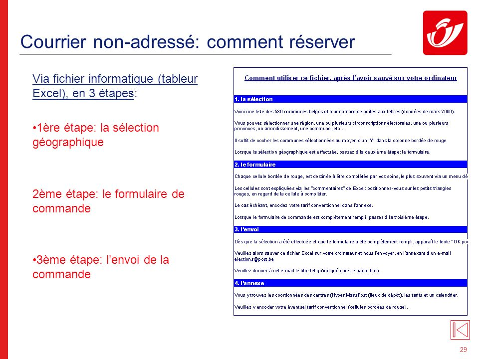 29 Courrier non-adressé: comment réserver Via fichier informatique (tableur Excel), en 3 étapes: 1ère étape: la sélection géographique 2ème étape: le formulaire de commande 3ème étape: lenvoi de la commande