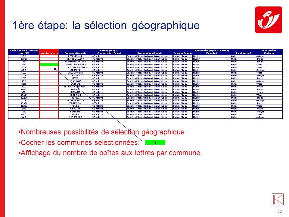 30 1ère étape: la sélection géographique Nombreuses possibilités de sélection géographique Cocher les communes sélectionnées: Affichage du nombre de boîtes aux lettres par commune.