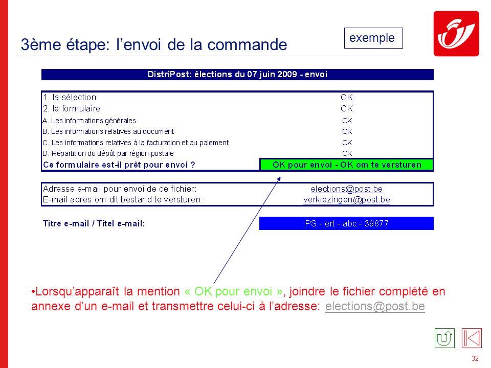 32 3ème étape: lenvoi de la commande Lorsquapparaît la mention « OK pour envoi », joindre le fichier complété en annexe dun e-mail et transmettre celui-ci à ladresse: elections@post.beelections@post.be exemple