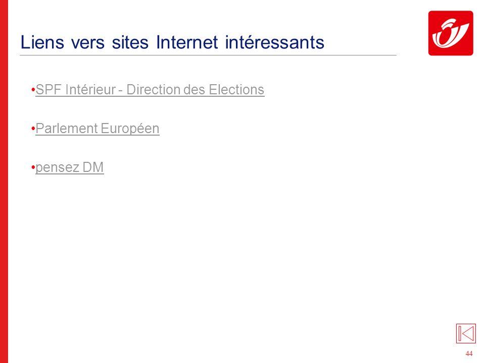 44 Liens vers sites Internet intéressants SPF Intérieur - Direction des Elections Parlement Européen pensez DM