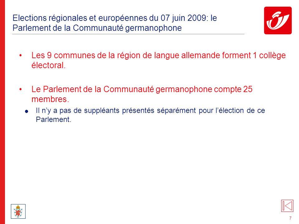8 Elections régionales et européennes du 07 juin 2009: le Parlement flamand Le Parlement flamand se compose de 118 membres élus directement par les électeurs de la Région flamande et de 6 membres bruxellois néerlandophones qui sont élus directement par les électeurs de la Région bruxelloise qui auront au préalable voté sur une liste du groupe linguistique néerlandais pour le Parlement de la Région de Bruxelles-Capitale.