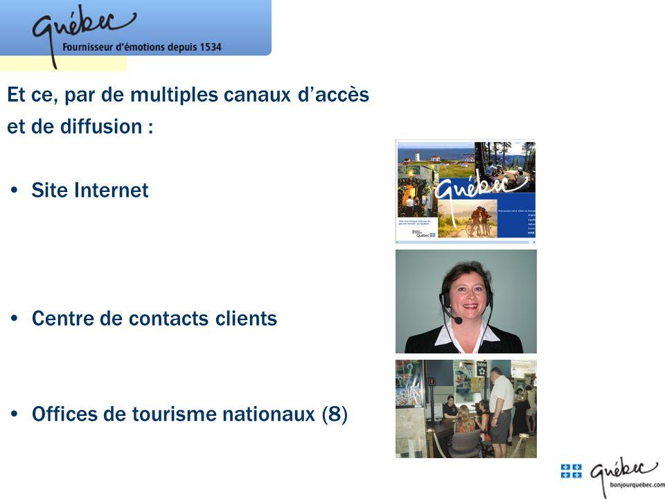 Et ce, par de multiples canaux daccès et de diffusion : Site Internet Centre de contacts clients Offices de tourisme nationaux (8)