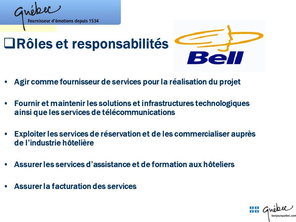 Rôles et responsabilités Agir comme fournisseur de services pour la réalisation du projet Fournir et maintenir les solutions et infrastructures techno