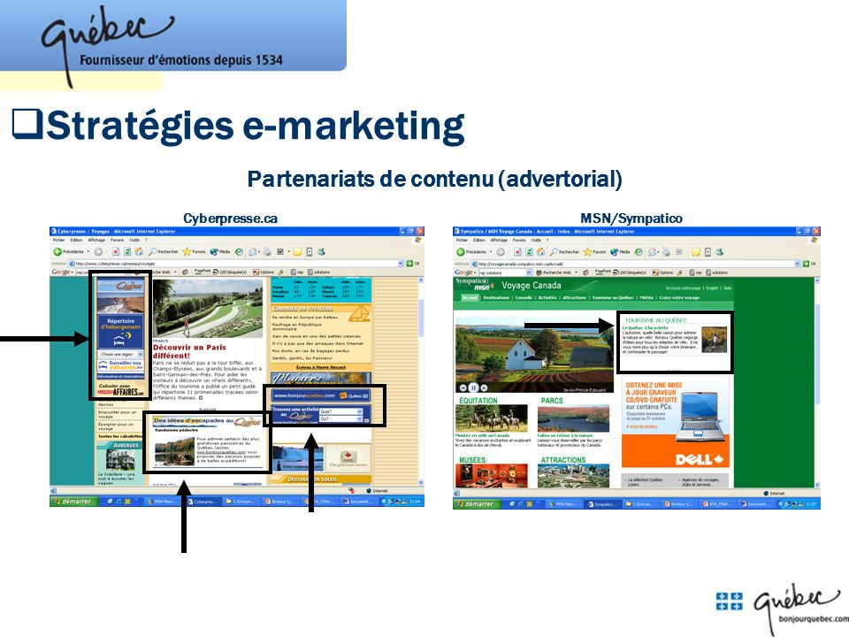 Partenariats de contenu (advertorial) Cyberpresse.caMSN/Sympatico Stratégies e-marketing