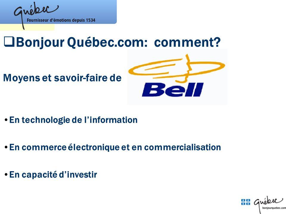 Bonjour Québec.com: comment? Moyens et savoir-faire de En technologie de linformation En commerce électronique et en commercialisation En capacité din