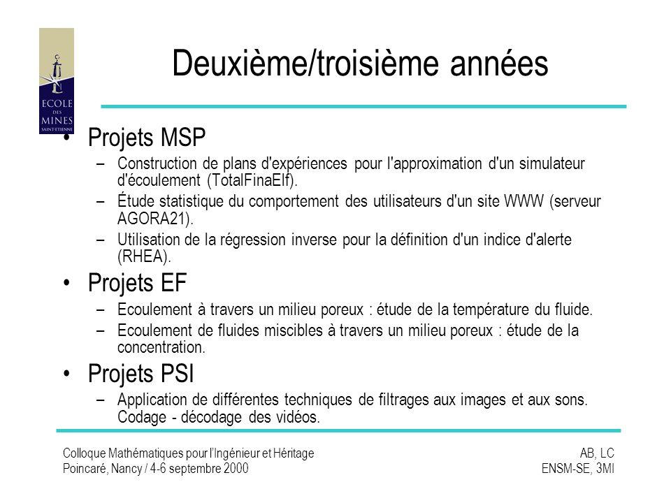 Colloque Mathématiques pour lIngénieur et Héritage Poincaré, Nancy / 4-6 septembre 2000 AB, LC ENSM-SE, 3MI Deuxième/troisième années Projets MSP –Construction de plans d expériences pour l approximation d un simulateur d écoulement (TotalFinaElf).