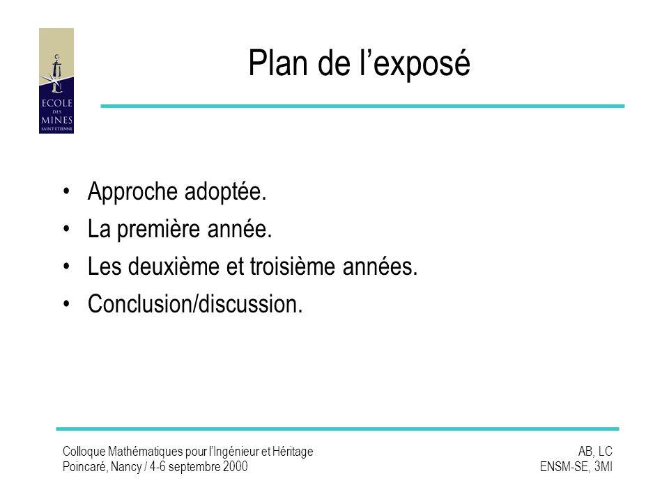 Colloque Mathématiques pour lIngénieur et Héritage Poincaré, Nancy / 4-6 septembre 2000 AB, LC ENSM-SE, 3MI Plan de lexposé Approche adoptée.