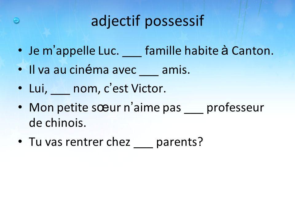 adjectif possessif Je m appelle Luc. ___ famille habite à Canton. Il va au cin é ma avec ___ amis. Lui, ___ nom, c est Victor. Mon petite s œ ur n aim