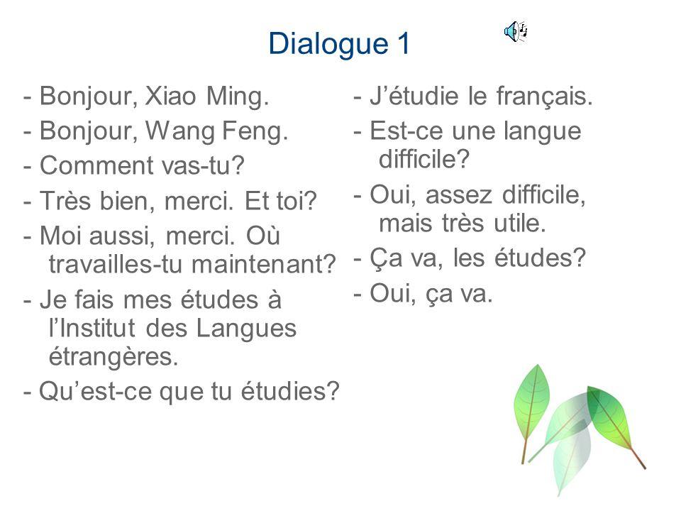 Dialogue 1 - Bonjour, Xiao Ming. - Bonjour, Wang Feng. - Comment vas-tu? - Très bien, merci. Et toi? - Moi aussi, merci. Où travailles-tu maintenant?