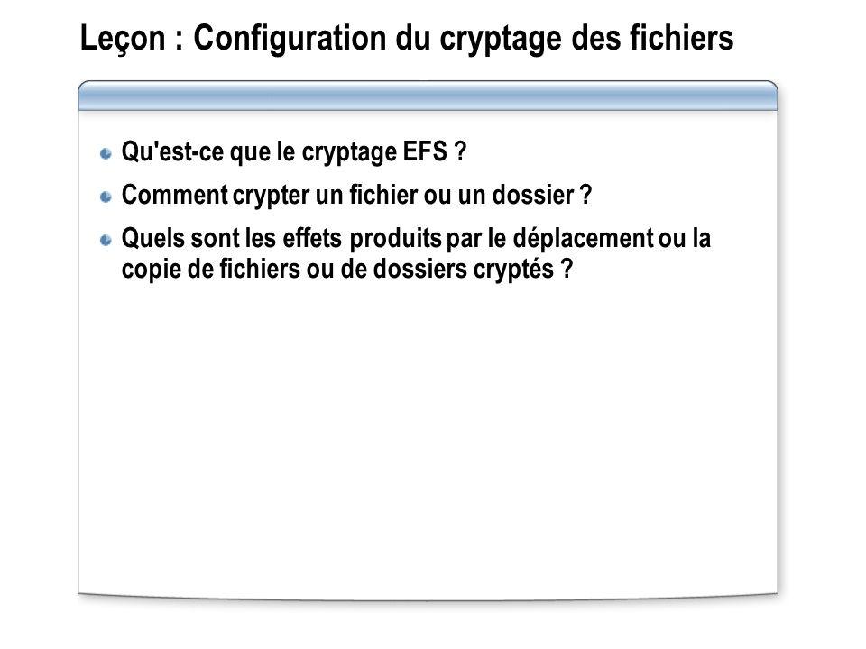 Leçon : Configuration du cryptage des fichiers Qu'est ce que le cryptage EFS ? Comment crypter un fichier ou un dossier ? Quels sont les effets produi