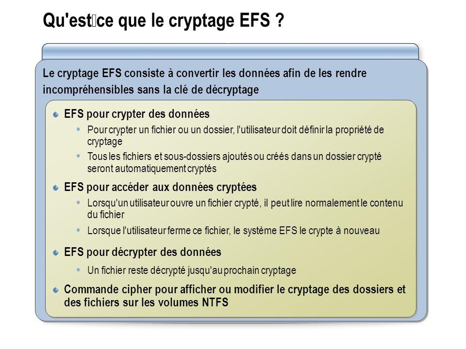 Qu'estce que le cryptage EFS ? Le cryptage EFS consiste à convertir les données afin de les rendre incompréhensibles sans la clé de décryptage EFS pou