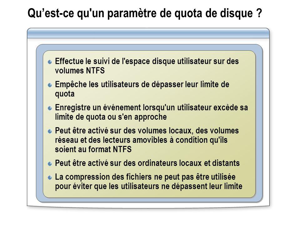 Quest ce qu'un paramètre de quota de disque ? Effectue le suivi de l'espace disque utilisateur sur des volumes NTFS Empêche les utilisateurs de dépass