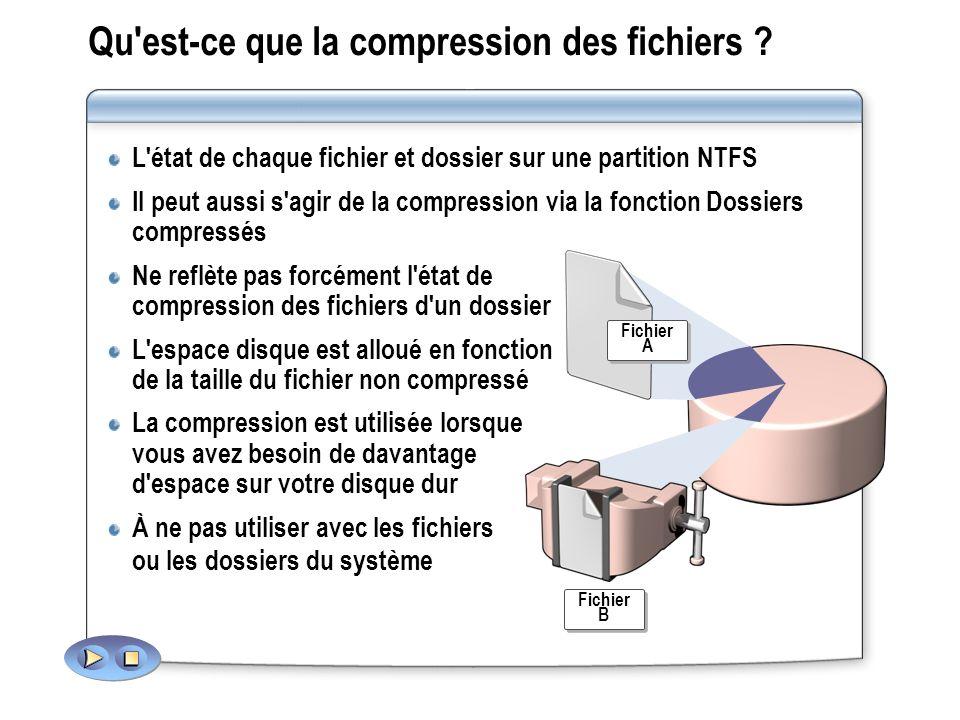 Qu'est ce que la compression des fichiers ? L'état de chaque fichier et dossier sur une partition NTFS Il peut aussi s'agir de la compression via la f