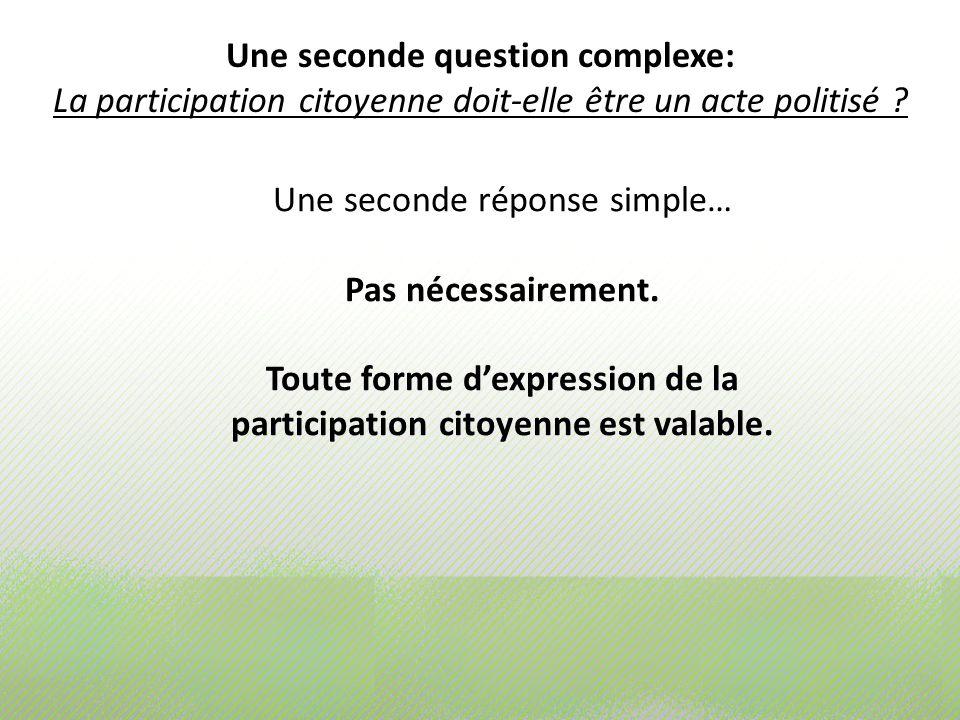 Une seconde question complexe: La participation citoyenne doit-elle être un acte politisé ? Une seconde réponse simple… Pas nécessairement. Toute form