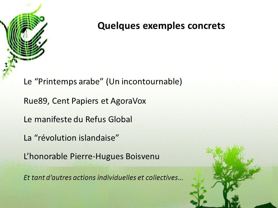 Quelques exemples concrets Le Printemps arabe (Un incontournable) Rue89, Cent Papiers et AgoraVox Le manifeste du Refus Global La révolution islandais