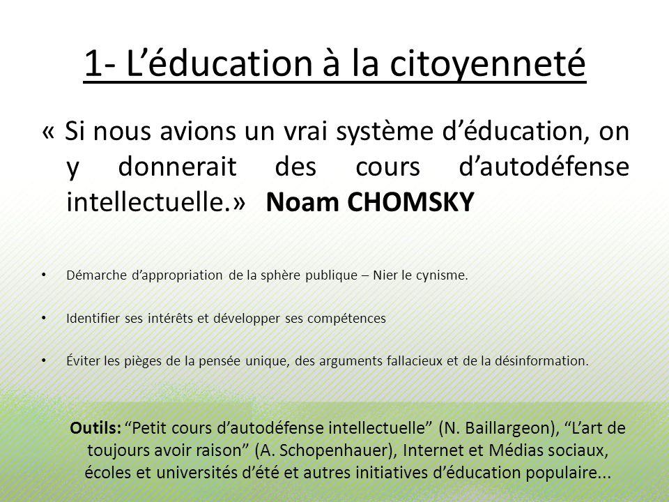 1- Léducation à la citoyenneté « Si nous avions un vrai système déducation, on y donnerait des cours dautodéfense intellectuelle.» Noam CHOMSKY Démarc