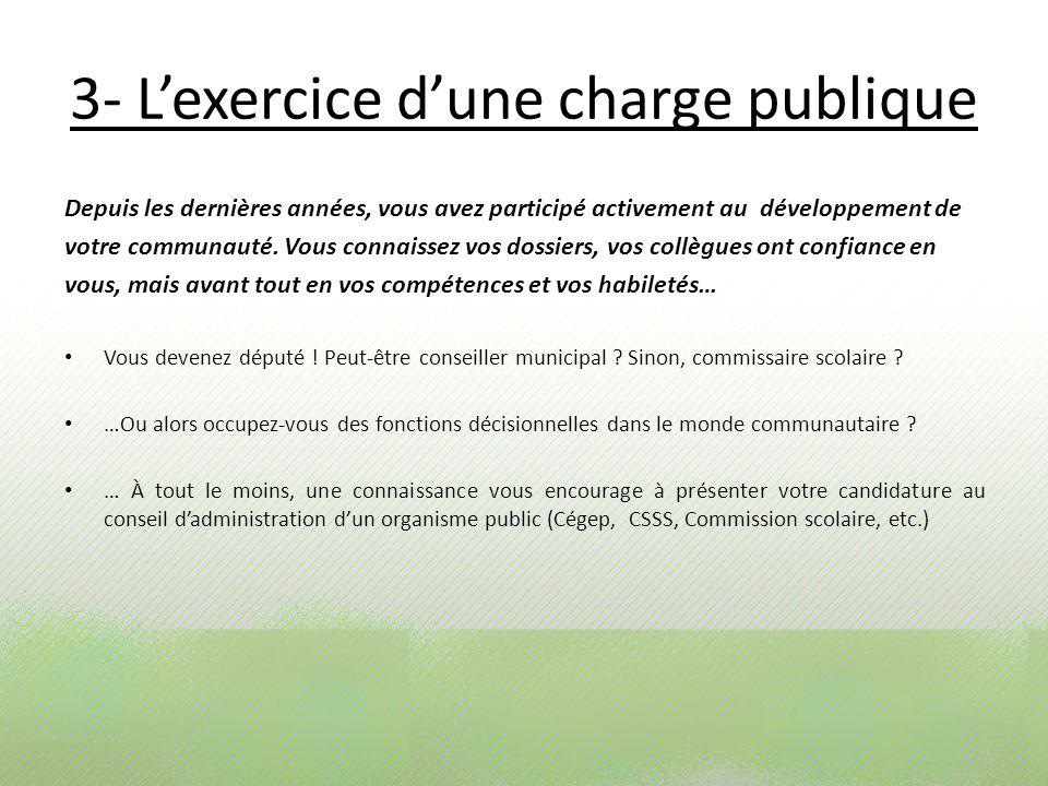 3- Lexercice dune charge publique Depuis les dernières années, vous avez participé activement au développement de votre communauté. Vous connaissez vo