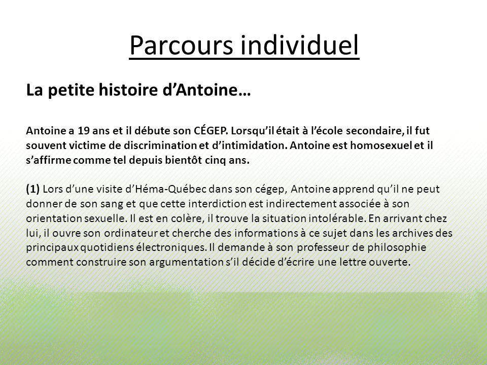Parcours individuel La petite histoire dAntoine… Antoine a 19 ans et il débute son CÉGEP. Lorsquil était à lécole secondaire, il fut souvent victime d