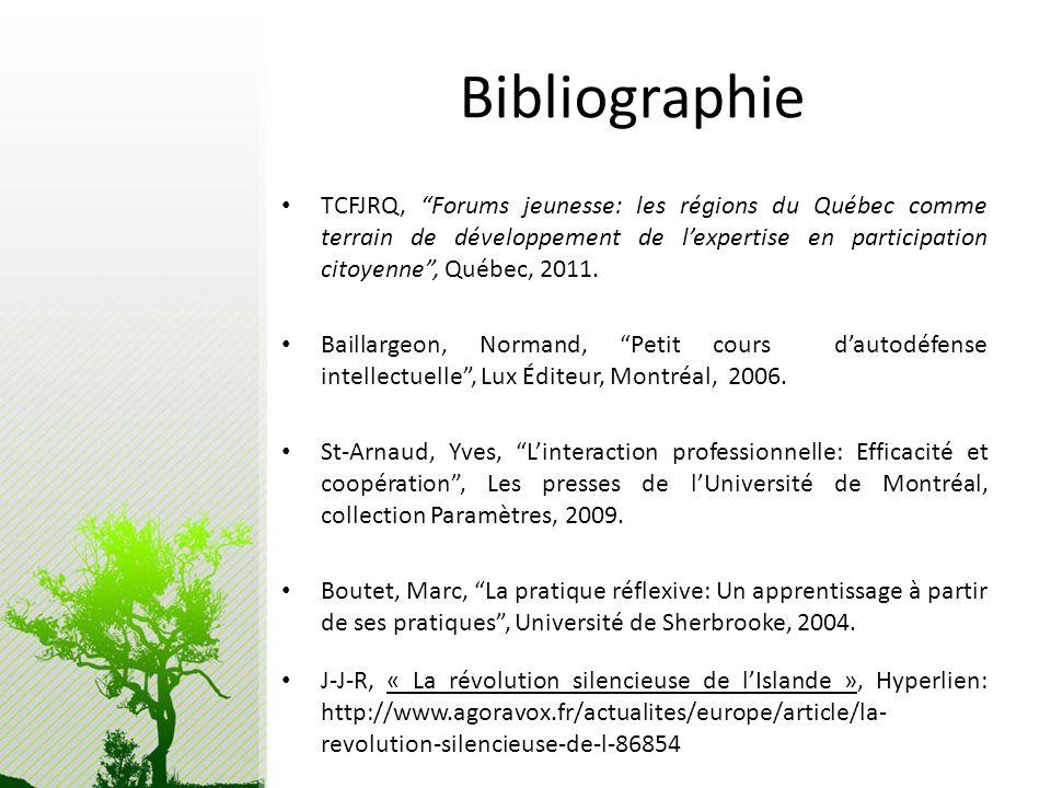 Bibliographie TCFJRQ, Forums jeunesse: les régions du Québec comme terrain de développement de lexpertise en participation citoyenne, Québec, 2011. Ba