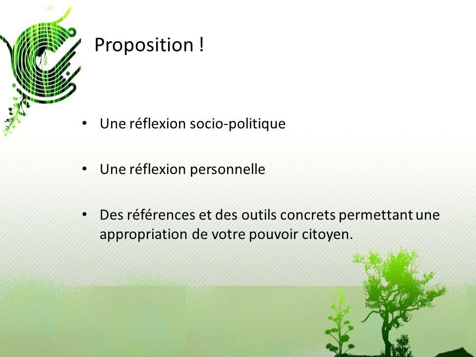 Proposition ! Une réflexion socio-politique Une réflexion personnelle Des références et des outils concrets permettant une appropriation de votre pouv