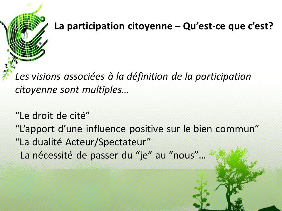 La participation citoyenne – Quest-ce que cest? Les visions associées à la définition de la participation citoyenne sont multiples… Le droit de cité L