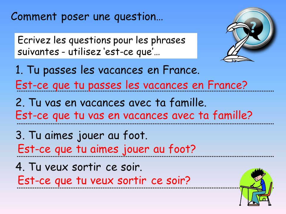 There are 3 different ways of asking a question in French – what are they.