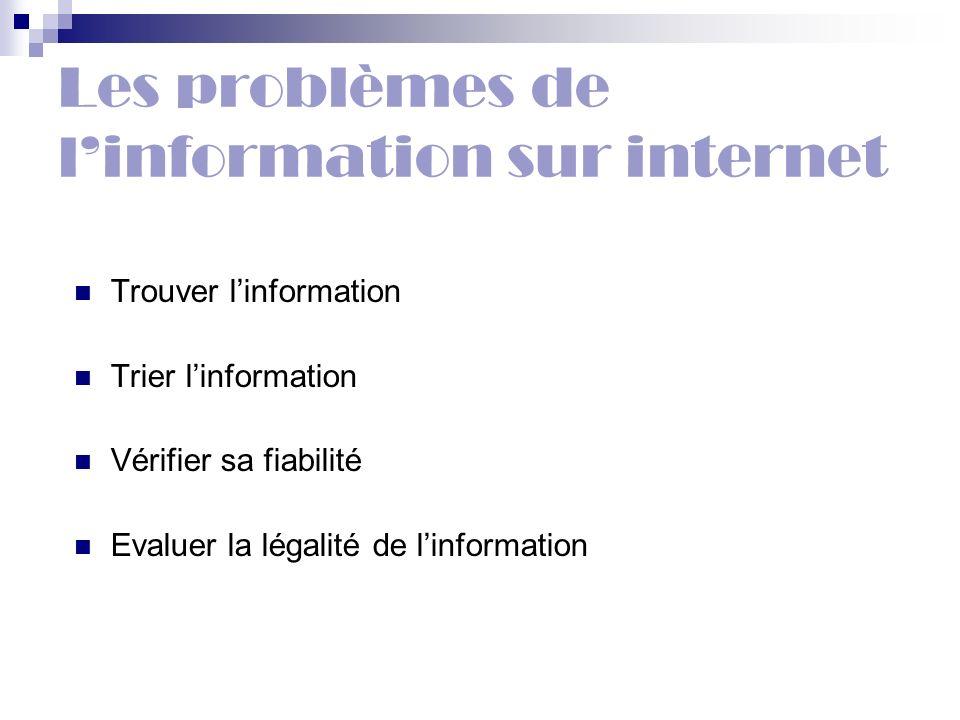 Les problèmes de linformation sur internet Trouver linformation Trier linformation Vérifier sa fiabilité Evaluer la légalité de linformation