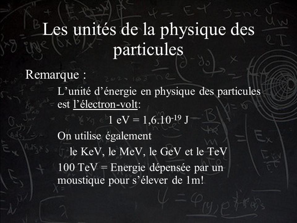 Les unités de la physique des particules Remarque : –Lunité dénergie en physique des particules est lélectron-volt: 1 eV = 1,6.10 -19 J –On utilise également le KeV, le MeV, le GeV et le TeV –100 TeV = Energie dépensée par un moustique pour sélever de 1m!