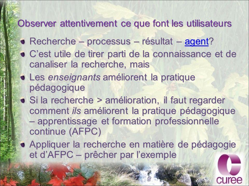 Observer attentivement ce que font les utilisateurs Recherche – processus – résultat – agent.