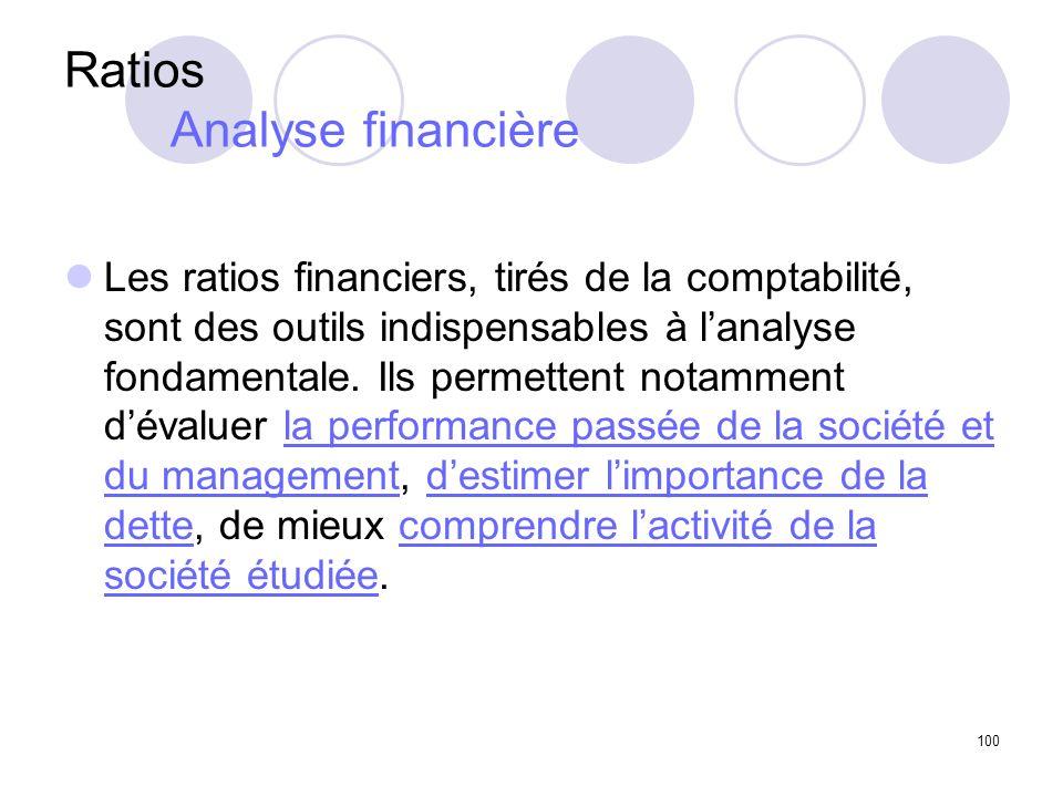 100 Ratios Analyse financière Les ratios financiers, tirés de la comptabilité, sont des outils indispensables à lanalyse fondamentale. Ils permettent